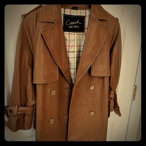 Coach Leather Trench Jacket 3/4 Sleeve Vintage